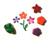 Flower rubber stamp set with three blossoms and one stem with leaves - hand carved handmade - ready to ship