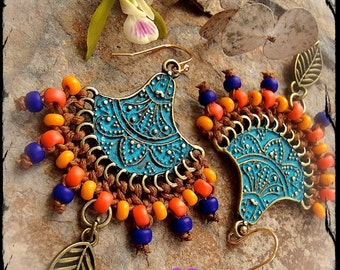 INDIE Fan Earrings Colorful Mehndi LEAF earrings Ethnic Beaded earrings Dangle earrings Verdigris Oriental jewelry Summer holiday fun GPyoga