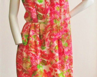 "1960s Pink Floral Print Dress and Matching Scarf 28"" Waist"