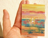 """Original ACEO painting, art trading card ATC, 2.5 x 3.5"""" - Namibia Impressions Sunset, gouache landscape, fundraiser, Doll's House Decor"""