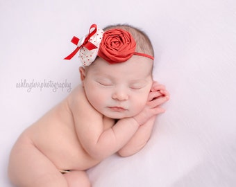 Bouy headband - red and white polka dot double rosette bow