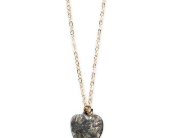 Love Struck Collection: Oxidized Hammered Heart Gold filled necklace