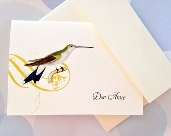 Personalized Stationery, Custom Note Cards, Hummingbird Cards, Set of 8