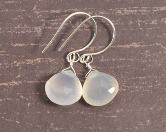 Opal white chalcedony earrings. Handmade silver ear wires. Frost white. Sterling silver jewelry. Cloud white gemstones. Free shipping.