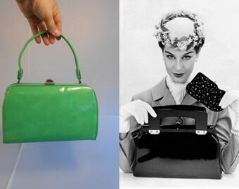 That Penny Saved That Penny Earned - Vintage 1950s Bright Green Vinyl Patent Medium Doctor Barrel Handbag