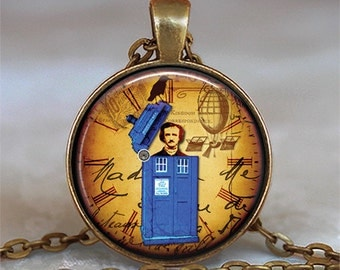 Tardis & Edgar Allan Poe necklace Tardis necklace Tardis jewelry Tardis pendant Dr Who Steampunk Halloween Tardis key chain key fob