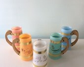 Siesta Ware Mid Century Mug Set Vintage Barware Tiki Hawaii Theme Frosted drinkware Five Piece 60s