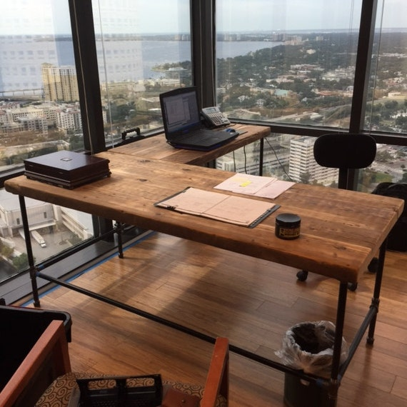 Urban Wood L Shape Desk Crafted Of Reclaimed Wood With Pipe