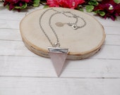Rose Quartz Triangle Pendant Necklace