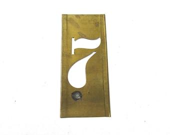 "Number 7 VINTAGE Brass Stencil 1 1/2"" Seven #7 Scrapbooking Altered Art Assemblage Mixed Media Art Supplies Brass Stencil Number 7 (S30)"