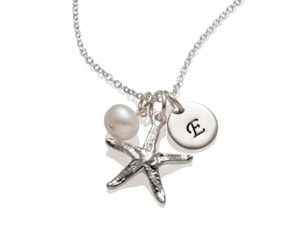 Starfish Necklace - Personalized Starfish Charm 925 Sterling Silver Initial Necklace - Beach Themed Jewelry - Gift Idea for Her N021