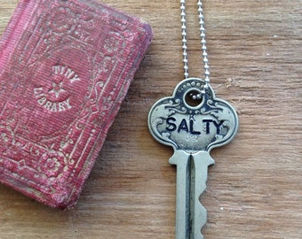 SALTY | KEY Necklace | Hand Stamped Fancy Vintage Key