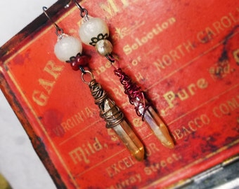 Rustic Wire & Quartz Assemblage Earrings -Tumbled Jonquil Crystal Points, Mismatch Beads - Red Wire, Faux Roman Glass White Polymer Beads