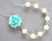 tiffany blue rose with white Swarovski pearl necklace, handwrapped in sterling silver, mother of bride, bridal party, wedding