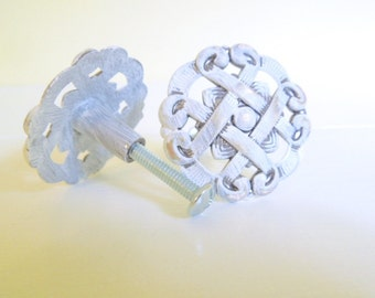 White Painted Metal Drawer Knobs, Set of Two, Up-cycled Hardware, Cottage Chic Decor