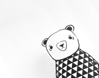 Modern black and white Organic cotton stuffed toy teddy bear - little Osito