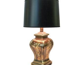 Vintage Asian Brass Ginger Jar Lamp Hollywood Regency Birds