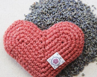 Organic Lavender Heart Sachet in Coral Reef - Hand Crocheted Eco-Friendly Gift