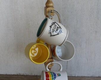 Vintage Wooden Mug Holder // Necklace Organizer // Storage & Organization // Rack