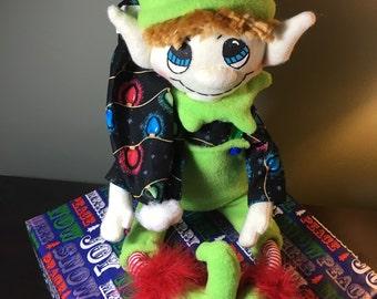 Bright Green Christmas Elf Doll