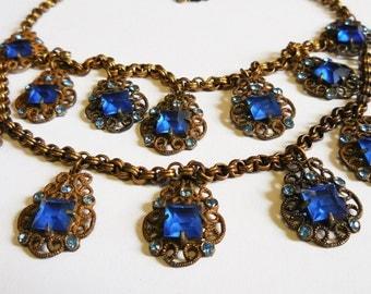 Vintage necklace cobalt blue rhinestones double strand gold filigree prong set