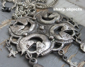 The Cavalry - antique silver statement horse pendant, tribal charms & curb equestrian chain necklace
