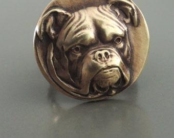 Vintage Ring - Bulldog Ring - Brass Ring - Adjustable Ring - Statement Ring - handmade jewelry