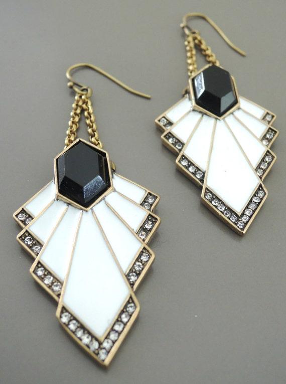 Art Deco Earrings White And Black Enamel Earrings Crystal