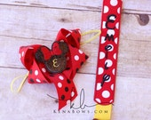 Minnie Pacifier Clip and Bow, Disney, Red Polka Dot, Mouse Personalized Binky Holder, Baby Girl, Universal Paci Clip, Pacifier Keeper, Leash