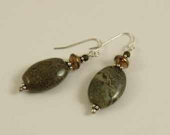 Earthy snakeskin jasper sterling silver earrings