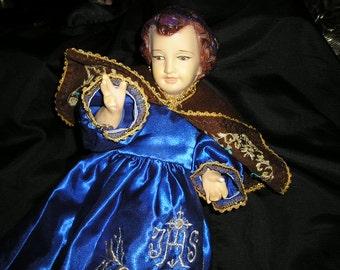 Fabulous Festive Wested Infant of Prague/Santo Nino Religious Figure Spanish Colonial Prayer Icon..
