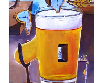Beer Oil Painting, Salvador Dali Style, Surrealism, Beer Pint, Gift for Home Brewer, Brewery Wall Art Decor, Bar Art, Anniversary Gift