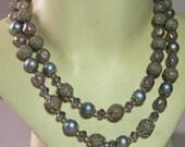 Vintage Lavender Sugar Bead Necklace