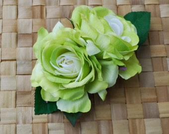 Beautiful double roses in soft lime green with green leaves pin up vintage rockabilly 40s 50s burlesque hairflower hairpiece