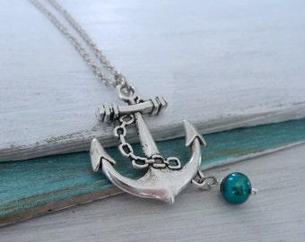 Anchor Pearl Necklace, Antique Silver Anchor, Teal Freshwater Pearl, Anchor Pearl Necklace, Lost at Sea Necklace, Sailor Gift, Sail Away