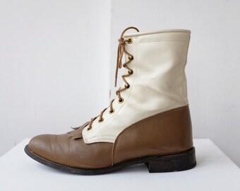 vintage roper boots / lace up prairie boho combat granny boots / fringe kiltie two tone shoes size 9.5