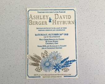 Letterpress Wedding Invitations - Wildflowers