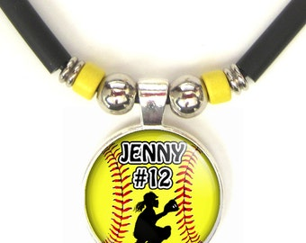 Softball Catcher 3D Glass Pendant Necklace Personalized  With Your Name and Number, Softball Team Pendant, Softball Mom
