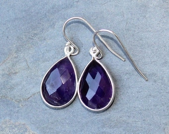 Amethyst Earrings, Natural Stone Earrings, Sterling Silver Earrings, Purple Earrings, Teardrop Earrings, Gemstone Earrings, Amethyst Jewelry