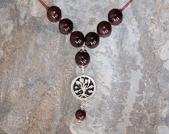 Gemstone Tree of Life Necklace, Garnet Necklace, Natural Stone Necklace, Burgundy Necklace, Handmade Necklace, Holiday Necklace, January