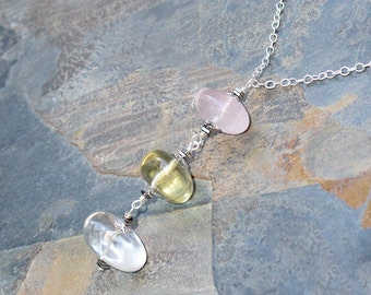 Mixed Gemstone Necklace, Statement Necklace, Rose Quartz Necklace, Quartz Necklace, Citrine Necklace, Spring Necklace, Mother's Day