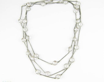 Antique Silver & Paste Necklace, 800 Silver with Large Open Back Bezel Set Clear Paste. Circa 1900s, 122.5 cm / 48.25 inches.