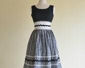 Vintage 1960s Day Dress...HOWARD WOLF Black and White Day Dress Sundress