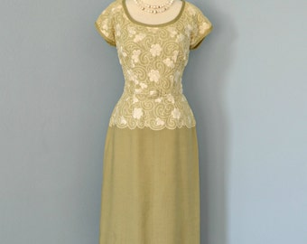 Vintage 1950s Dress...HARMAY Celedon Linen Dress Cocktail Dress