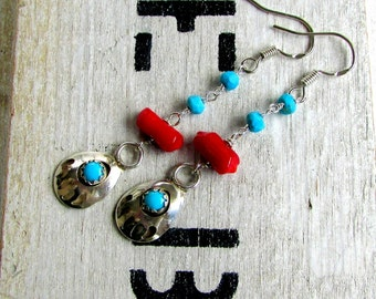 Bear Tracks, Vintage Navajo Turquoise & Sterling Silver Bear Claws, Natural Red Coral, Faceted Turquoise Bead Chain Boho Earrings