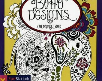 Coloring Book, Boho Designs Coloring Book, Creative Designs, Adult Coloring Book, Softcover, Fun Stitch Studio
