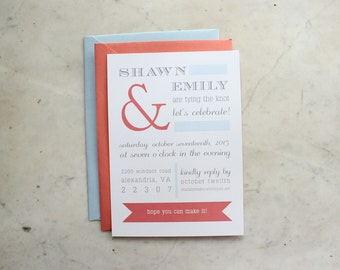 engagement party / wedding shower / couple's shower invitation - ampersand (coral, grey and light blue)