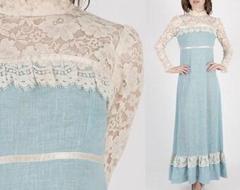 Vintage Gunne Sax Dress Prairie Dress Boho Dress Lace Dress Hippie Dress Hippy Dress Lace Wedding Dress Jessica McClintock 70s Dress