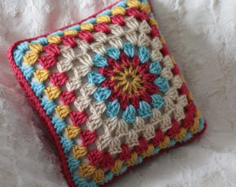 Granny Square Pillow - hand crocheted