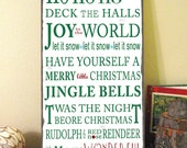 Christmas Typography Word Art Sign- Merry Christmas- Weather Worn White Vintage Style Wood